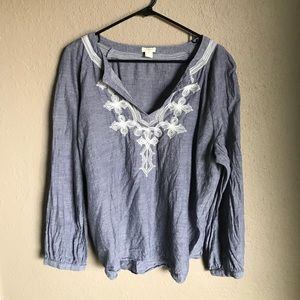J Crew Embroidered Chambray Tunic